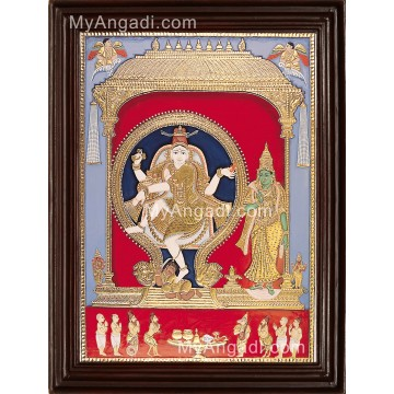Natarajar with Sivagama sundari Tanjore Painting