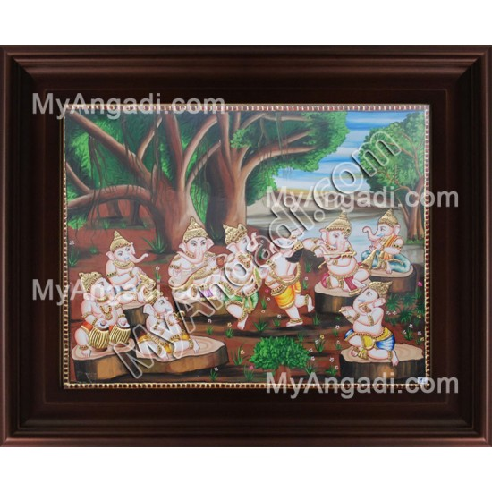 Nava Vinayakar Tanjore Painting, Ganesha Tanjore Painting