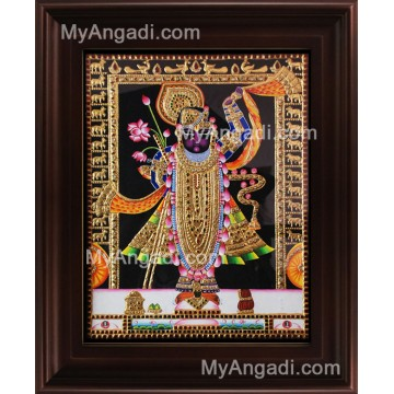 North India Krishna Tanjore Painting, Shrinathji Tanjore Painting