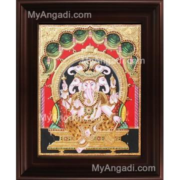 Panchamuga Ganesha Tanjore Painting, Ganesha Tanjore Painting