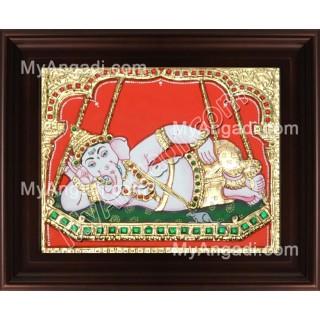 Swinging Ganesha Tanjore Painting, Ganesha Tanjore Painting