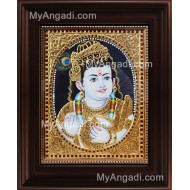Vennai Thali Krishna Tanjore Painting, Krishna Tanjore Painting