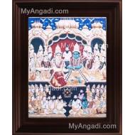 Vishnu Kalayanam Tanjore Painting, Vishnu Lakshmi Tanjore Painting