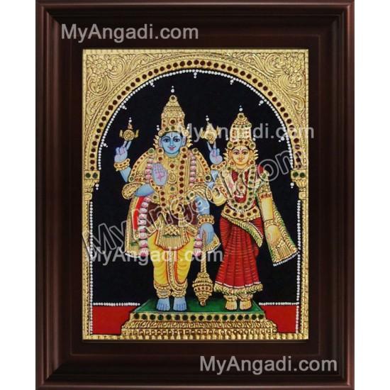 Vishnu Lakshmi Tanjore Painting, Vishnu Lakshmi Tanjore Painting