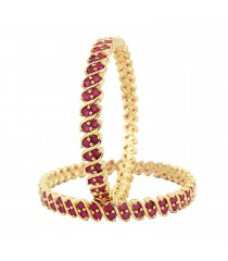 Ruby Stone Bangle - Gold Imitation