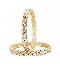 American Diamond Bangle - Gold Imitation