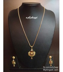 Gold Plated AD Stone Pendant Chain