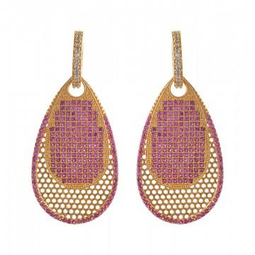 Ruby - AD Stone Dangles  - Earring