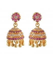 American Diamond - Ruby Stone Jumukka Earrings