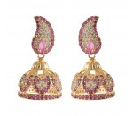 American Diamond - Ruby Stone Jumukka Earrings