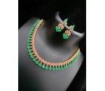 Necklace with Earring - Ruby and Emerald Stone