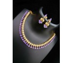 Necklace with Earring - Violet Stone
