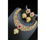 Necklace with Earring - Ruby Stone