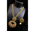 Necklace with Earring - Red and Green kundan Stone