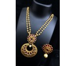 Necklace with Earring - Pink kundan Stone