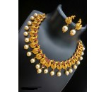 Necklace with Earring - Red kundan Stone -  peacock Design