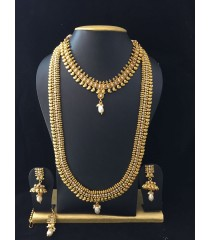Long Haram with Earring -  White Pearl