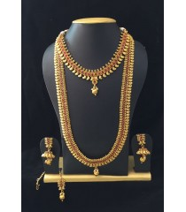 Long Haram with Earring -  Red Kundan Stone