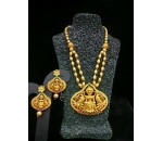 Temple Jewellery - Necklace with Earring -  Red and Green Kundan Stone