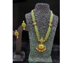 Necklace with Earring - Green Kundan Stone
