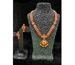 Necklace with Earring - Red Kundan Stone
