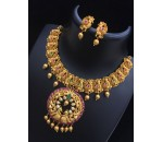 Necklace with Earring - Pink and Green Kundan Stone with white Pearl