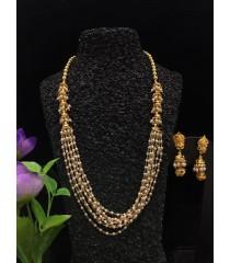 Short Harm with Jhumukka Earring - White pearl