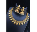Necklace with Jhumukka Earring-Red and Green Kundan Stone