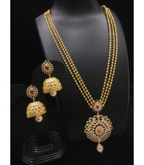 Haram with Earring-Red Stone with White Pearl