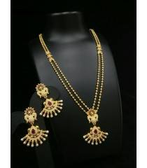 Haram with Earring-Red Kundan Stone and White Stone