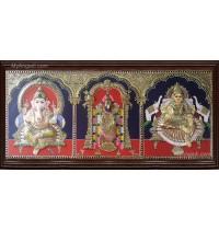 Ganesha Thirupathi Balaji Lakshmi Double Emboss Tanjore Painting