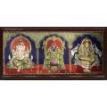 Ganesha Thirupathi Balaji Lakshmi 3D Tanjore Painting