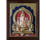 Ganesha Double Emboss Tanjore Painting
