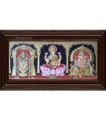 Balaji Lakshmi Saraswathi Double Emboss Tanjore Painting
