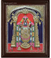 Thirupathi Balaji Double Emboss Tanjore Painting