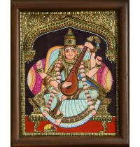 Saraswathi Double Emboss Tanjore Painting