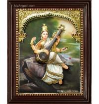 Ravi Varma Saraswathi Double Emboss Tanjore Painting