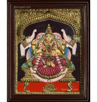 Gaja Lakshmi Double Emboss Tanjore Painting