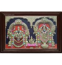 Thirupathi Balaji Padmavathi Amman Lakshmi  3D Tanjore Painting