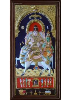 Prathosham Sivan Parvathi Double Emboss Tanjore Painting