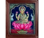 Lakshmi in Lotus Super Emboss Tanjore Painting