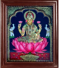 Lakshmi in Lotus Super Emboss Tanjore Painting