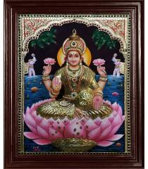 Gaja Lakshmi Super Emboss Tanjore Painting