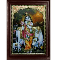 Krishn with Flute and Cow Tanjore Painting