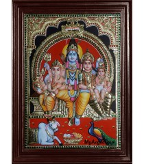 Siva Family Super Emboss Tanjore Painting