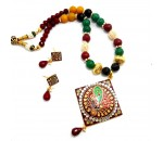 Meenkari Pendant Set with Earrings - Ruby, Emerald & Kundan