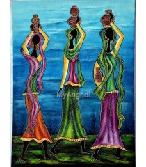 Water Pot Lady Acrylic Mural Painting