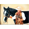 Horse with a Lady Oil Painting