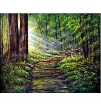 Golden Sunrays Oil Painting
