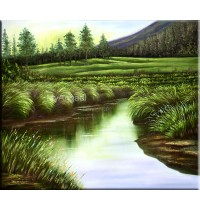 River Natural Scenary Oil Painting